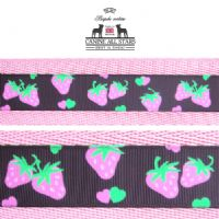 MARTINGALE DOG COLLAR - PINK STRAWBERRIES ON CHOCOLATE BROWN